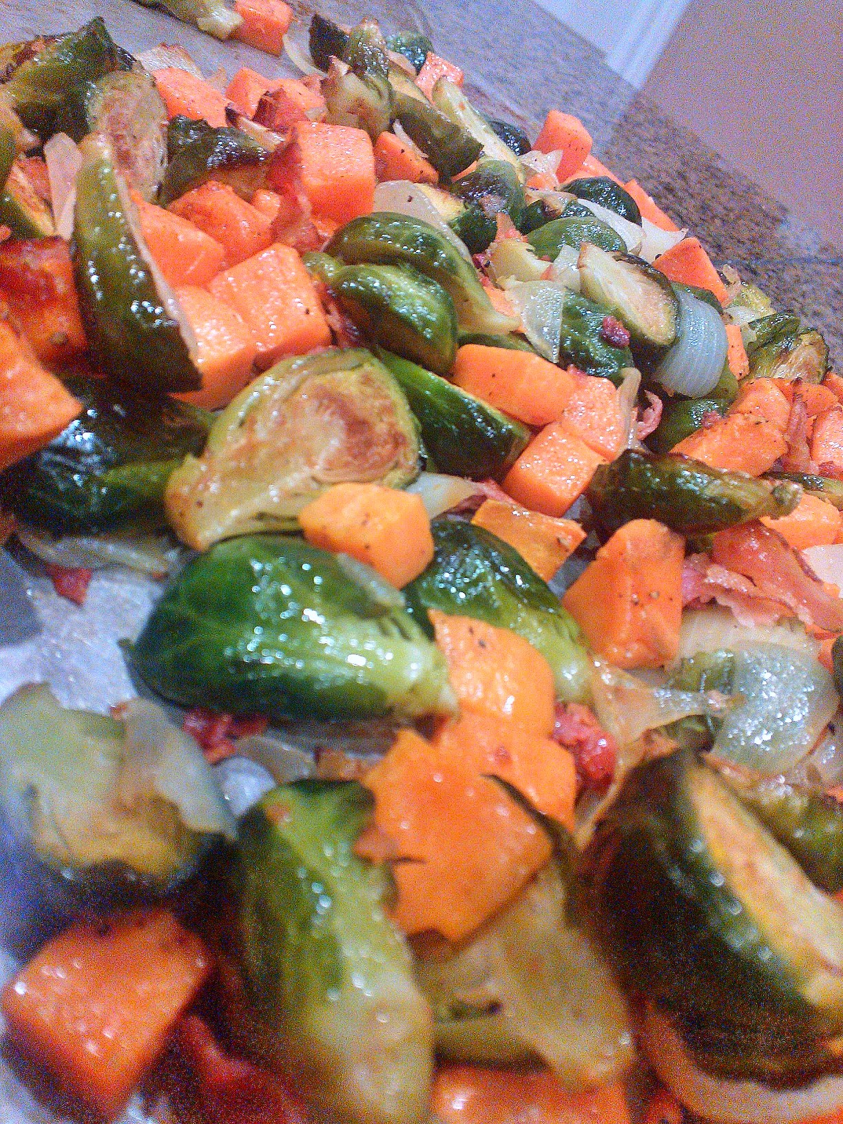 roasted brussels sprouts, sweet potatoes & bacon |