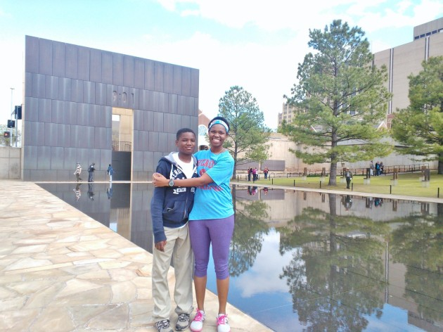 My little brother and me at the OKC National Memorial